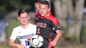 Newfield's Lorenzo Selini (3) plays the ball while