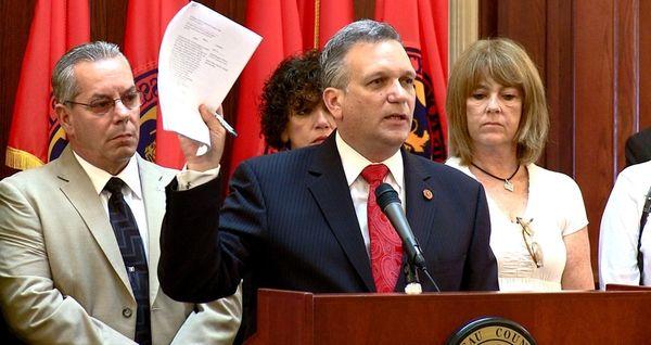 Nassau County Executive Ed Mangano announces a lawsuit