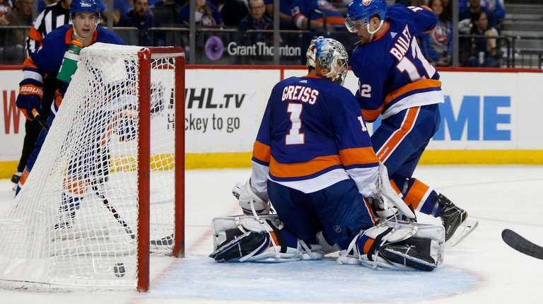 Thomas Greiss of the Islanders surrenders a goal
