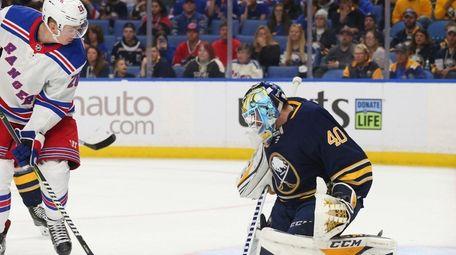 Buffalo Sabres goalie Carter Hutton (40) stops New