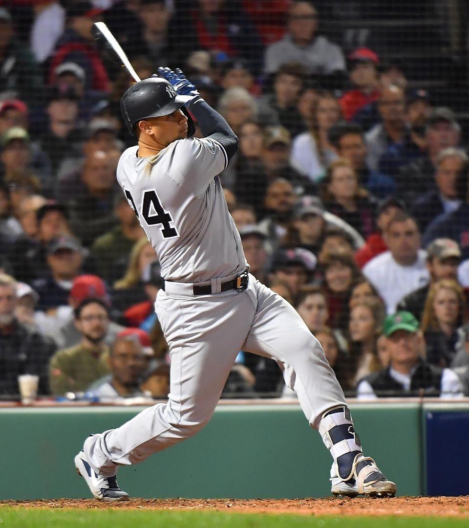 New York Yankees catcher Gary Sanchez (24) connects