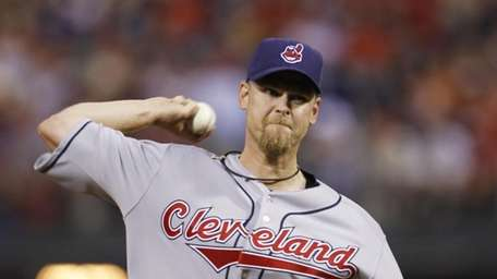 Cleveland Indians pitcher Kerry Wood works during a