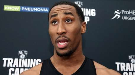 The Nets' Rondae Hollis-Jefferson talks to reporters at