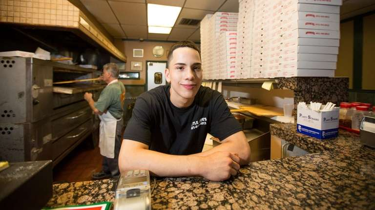 Dillon Aponte, 17, of Wyandanch, works at Little