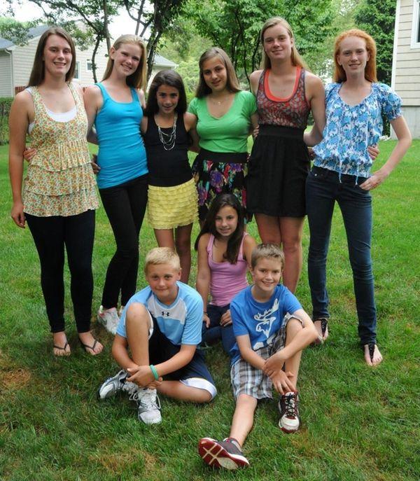 Huntington kids model back-to-school fashions. From left, Alexandra