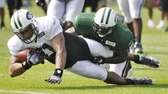 New York Jets tight end Dustin Keller, left,