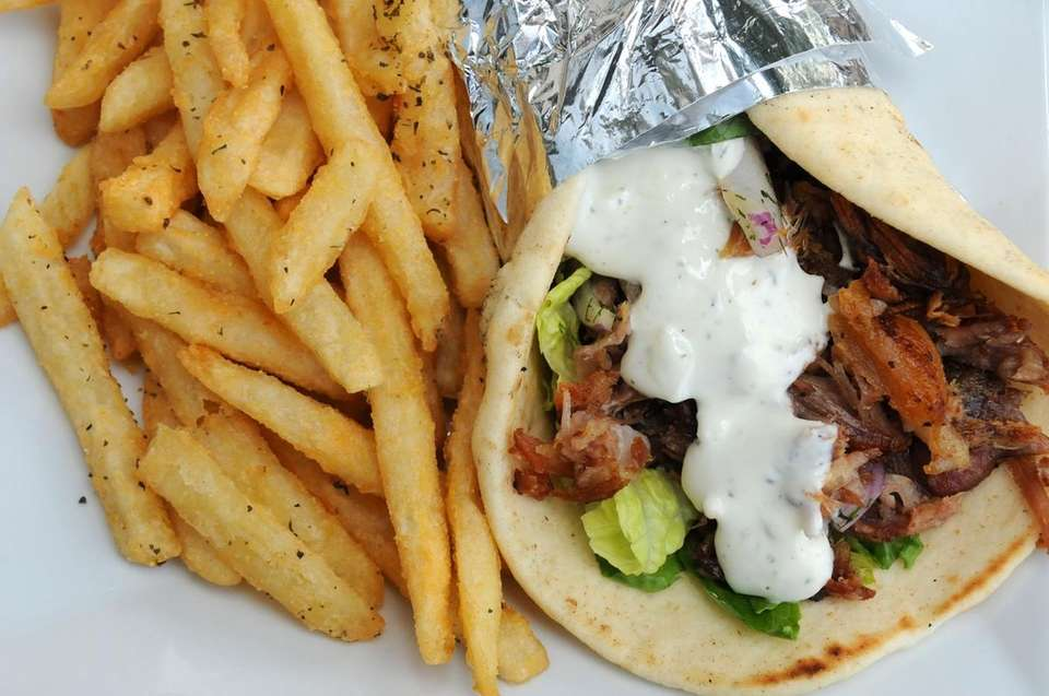 Pork gyro is a typical dish served at