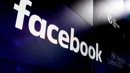The logo for Facebook appears on screens at