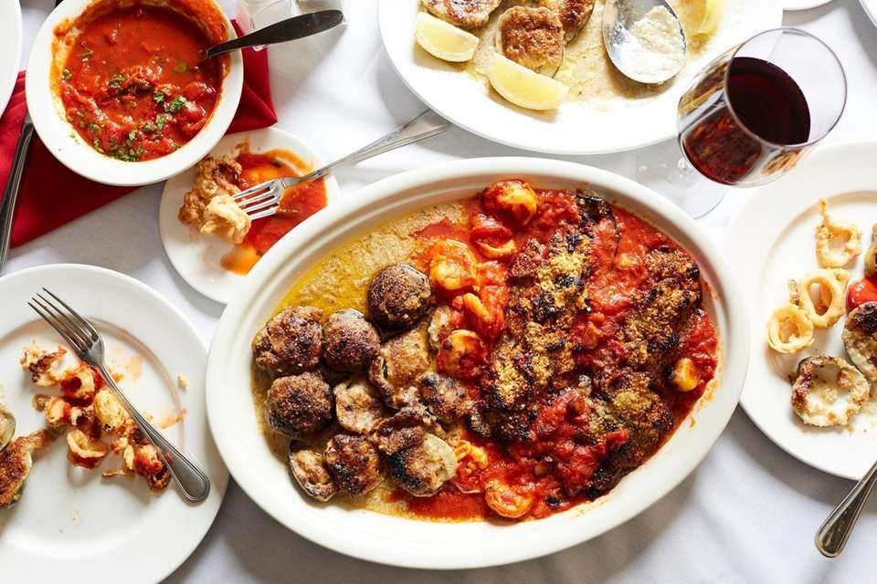 Hot antipasto with baked clams, stuffed mushrooms, stuffed