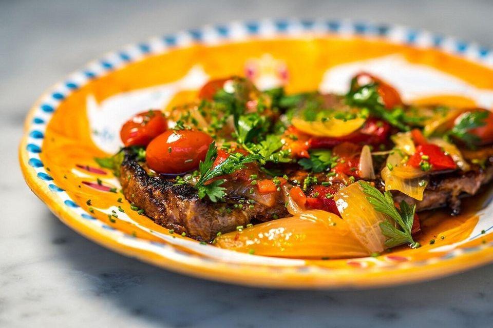 Ribeye pizzaiola - A boneless, thin-cut beef steak