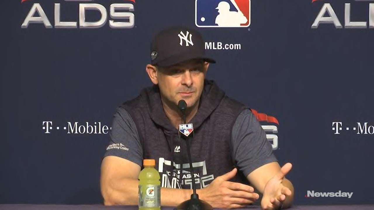 Before Tuesday night's game, Yankees manager Aaron Boone