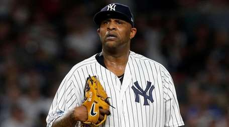 CC Sabathia of the Yankees stands in the
