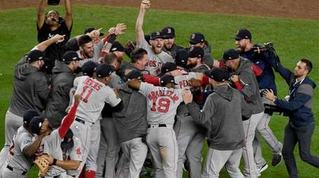 Boston Red Sox celebrate their alds victory over