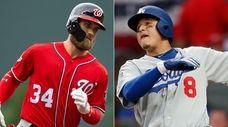 Nationals outfielder Bryce Harper, left, and Dodgers shortstop