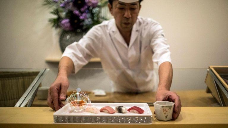A nigiri selection of Alaska salmon roe, Japanese