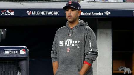 Manager Alex Cora of the Red Sox looks