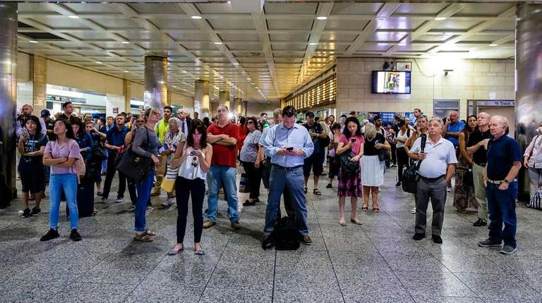 Commuters at Penn Station in August 2018.