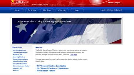 A screenshot of the landing page for www.suffolkvotes.com,