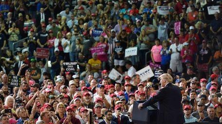 "President Donald Trump speaks during a ""Make America"