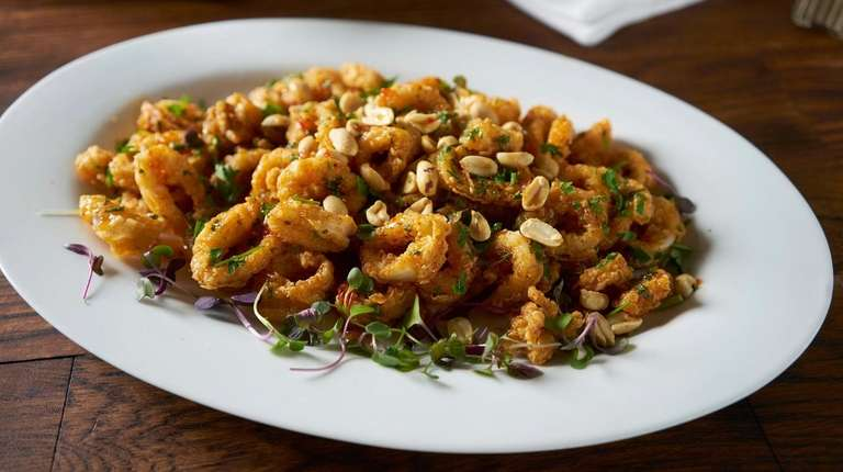 Tossed fried calamari with peanuts, Prato 850, Commack,