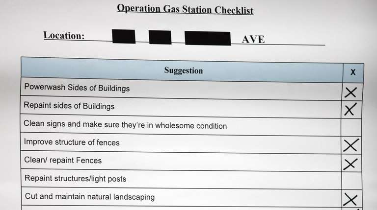 An example of the checklist for gas stations