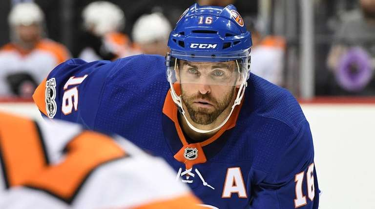 Islanders left wing Andrew Ladd looks on during