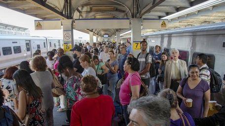 LIRR riders on the platform at Jamaica Station