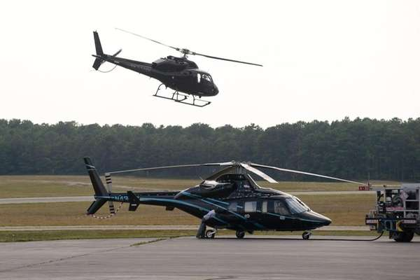 Helicopters at East Hampton Town Airport Friday afternoon