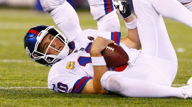 Eli Manning of the New York Giants lies