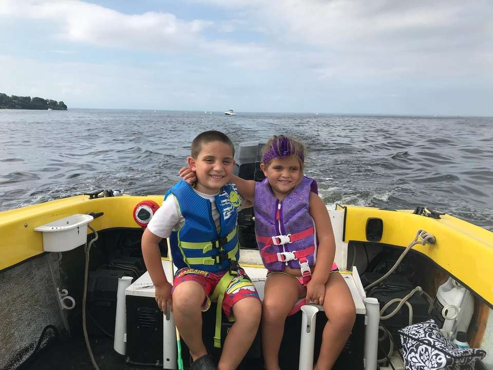 Jonathan and Annarose boating
