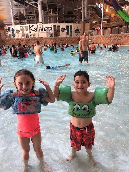 Annabelle and Mark playing at Kalahari?s water park