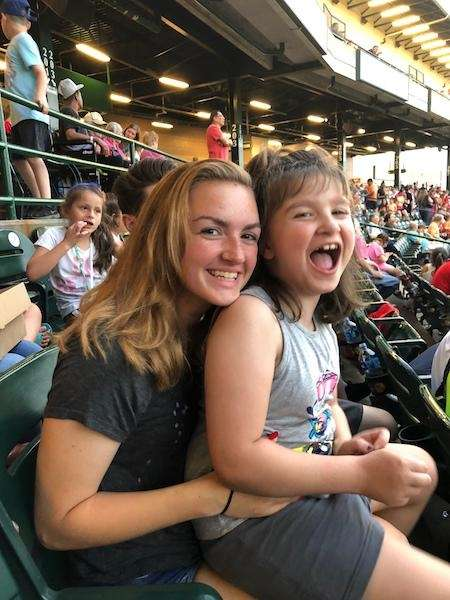 Rebecca and Ashlynne at the ducks game July