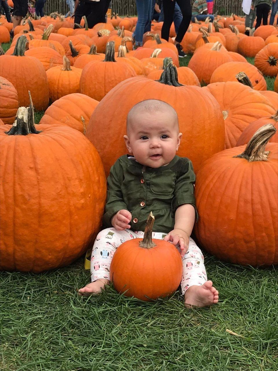 Juliana Koebel Lima in her first pumpkin patch