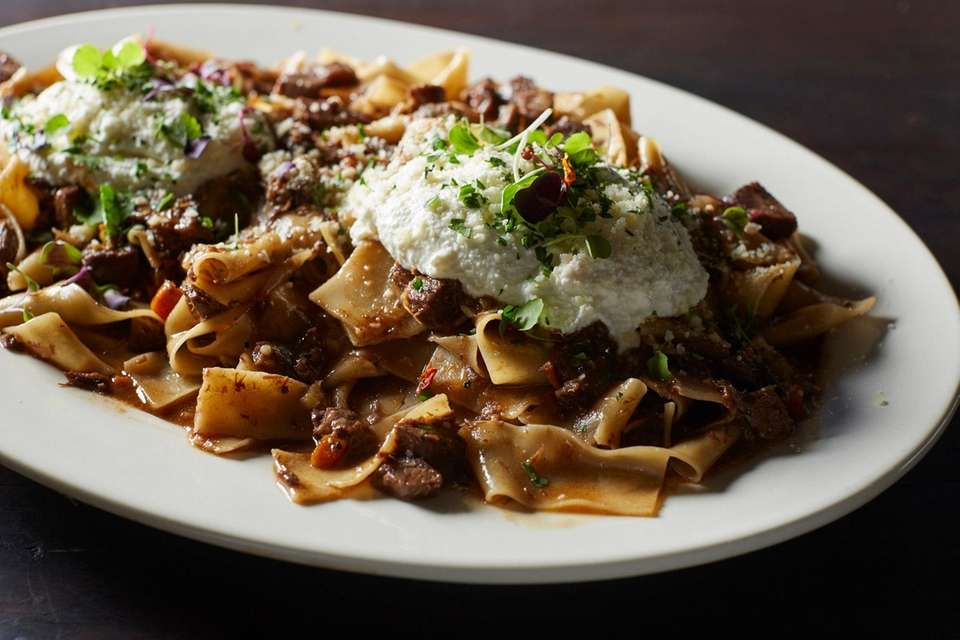 The house-made pappardelle at Ruggero's (5768 Rte. 25A,