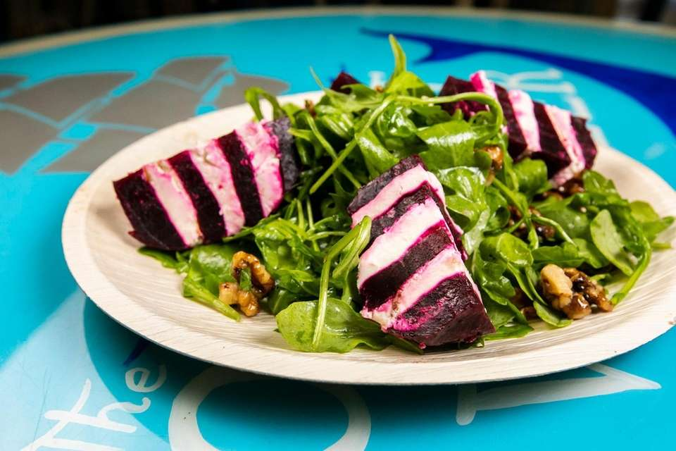 The ample, artfully arranged beet salad at The