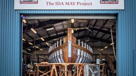 A replica of the Ida May, a dredge
