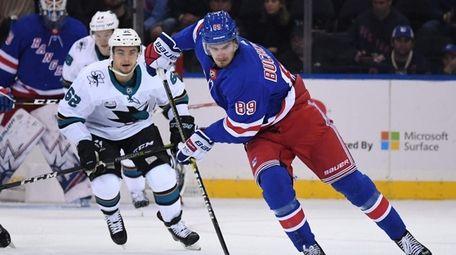 New York Rangers right wing Pavel Buchnevich skates