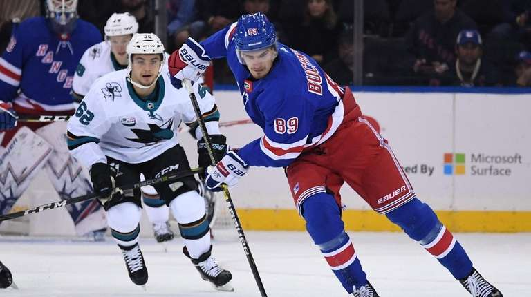 New York Rangers right wing Pavel Buchnevich skates