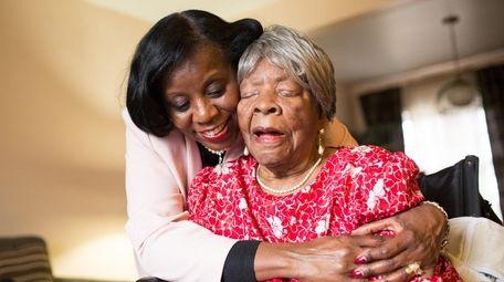 Cheryl Durant, left, hugs her mother, Novella Shockley,