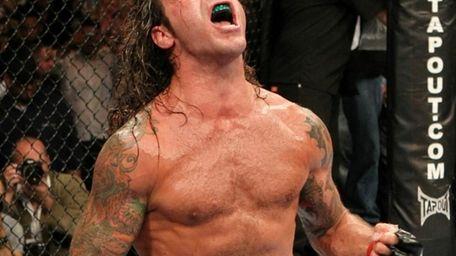 Clay Guida reacts after defeating Rafael dos Anjos