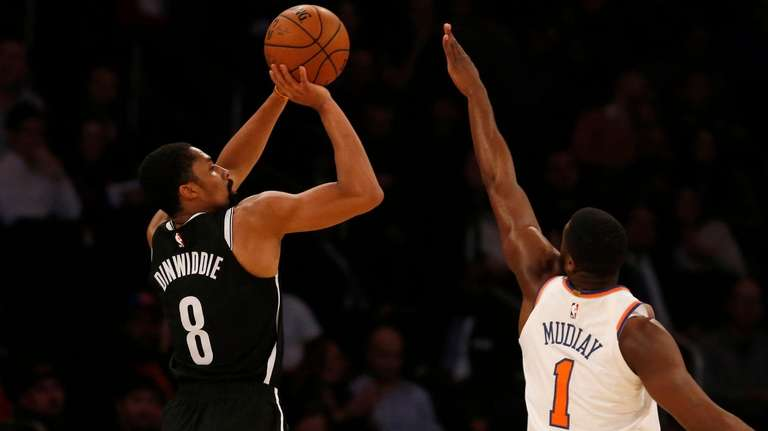 The Nets' Spencer Dinwiddie, who had 19 points,