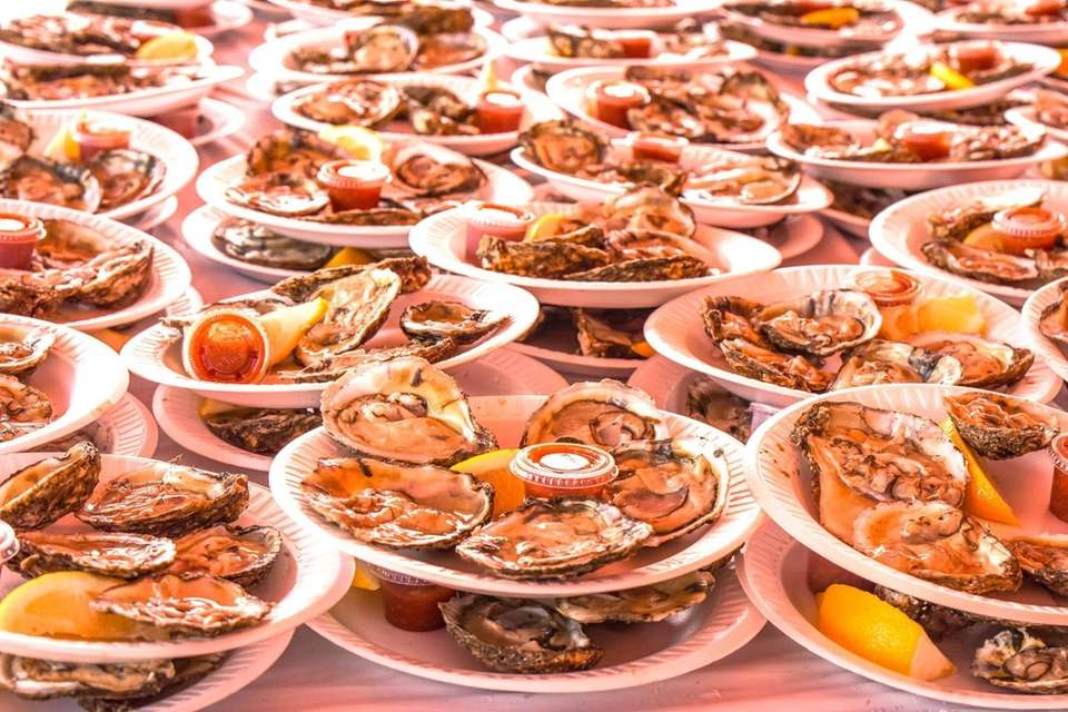 Oysters on the half shell are served Saturday