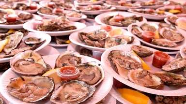 Oysters on the half shell are served at