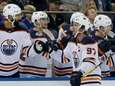 Connor McDavid of the Oilers celebrates his third