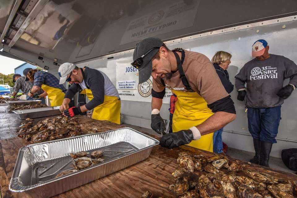 The competition is intense during the oyster shucking