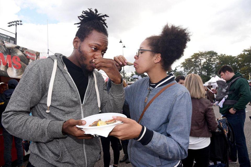 Joe and Ta-Tiana Furman of Westbury savor clams