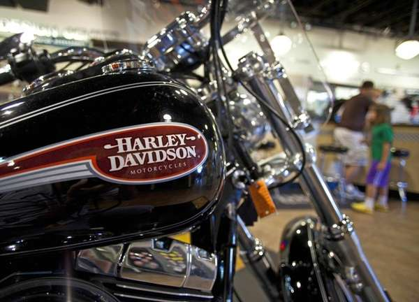 A Harley Davidson motorcycle is seen at a