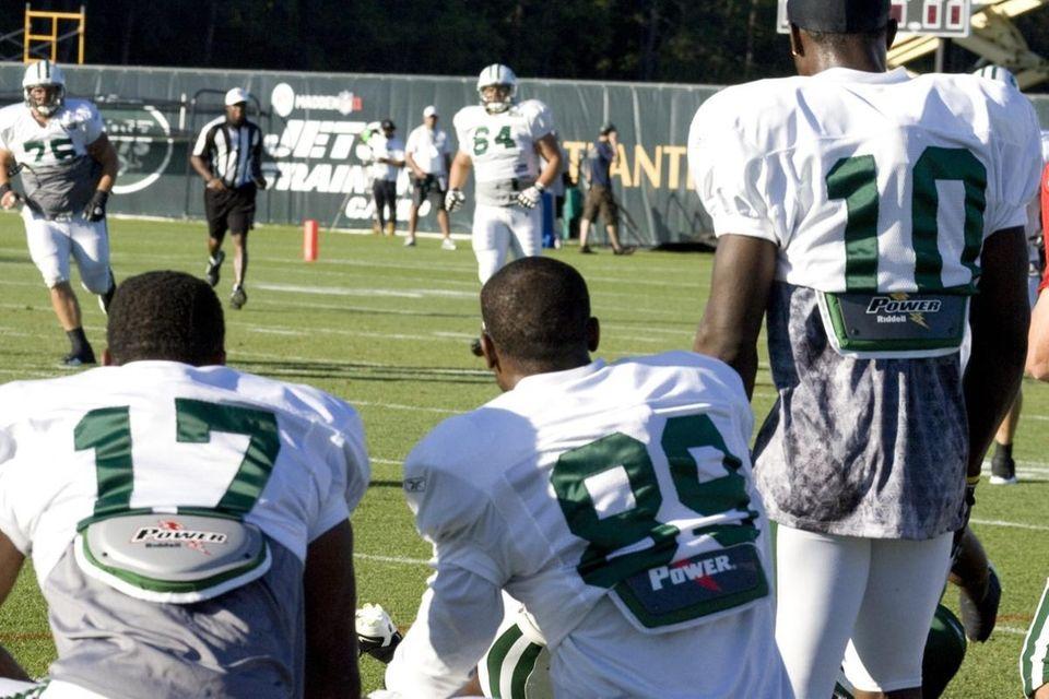 Jets receivers Braylon Edwards, Jerricho Cotchery and Santonio