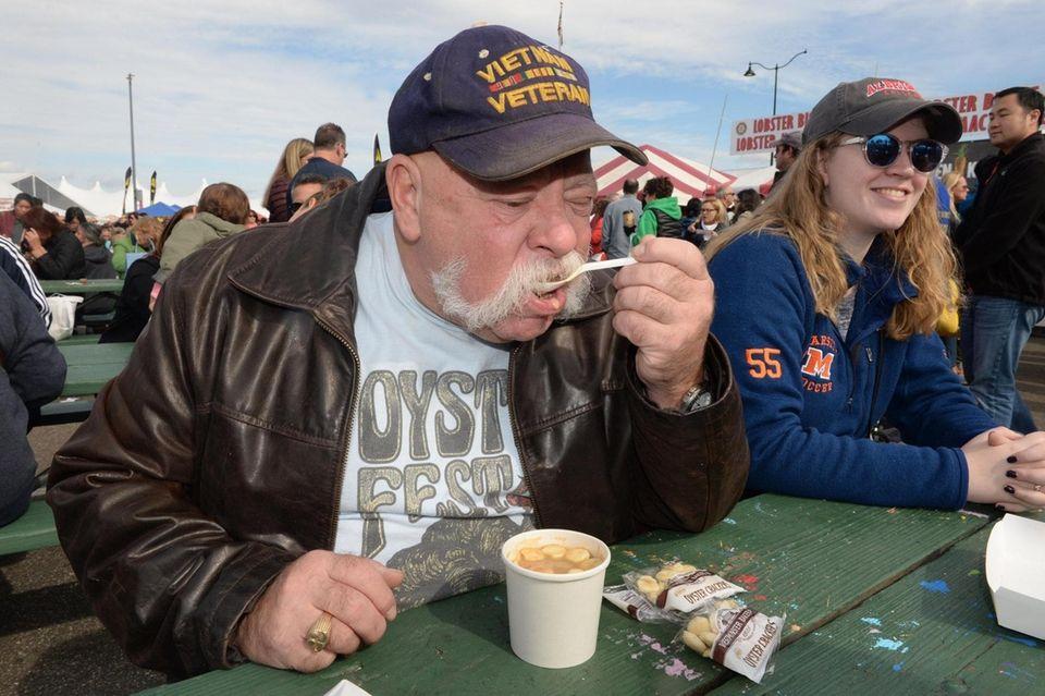 Stephen Marlow of Hicksville enjoys a lobster bisque