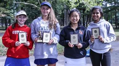 From left, Nassau girls individual tennis finalists Thea
